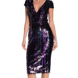 Dress the Population Mae Sequin Midi Dress NWT